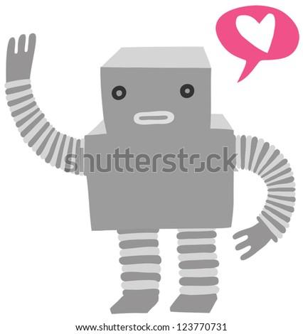 cute little robot in love