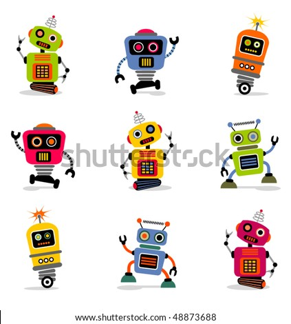 cute little robots set 2 - stock vector