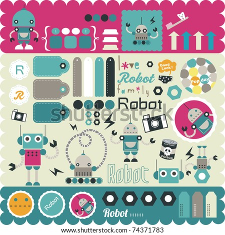 cute little robots stickers elements for scrapbook