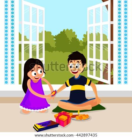 cute little sister tying rakhi