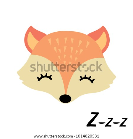 Cute little sleepy fox.Animal vector illustration