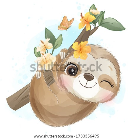 Cute little sloth with watercolor effect Stock foto ©