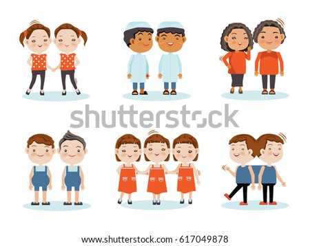 Cute little smiling boys twin,Girl twins, triplets, twins stick together.Vector illustration, isolated on white background.