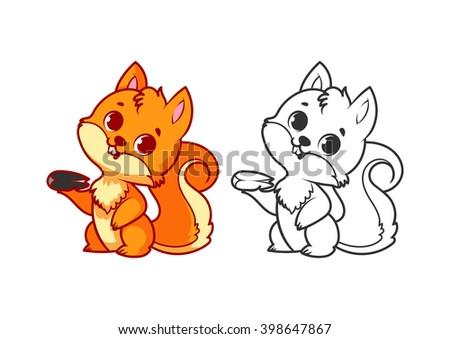 cute little squirrel cartoon