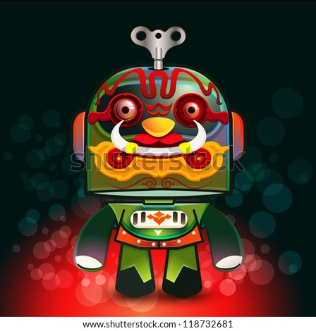 Cute little Thai Giant Robot Vector illustration,  Cartoon vector illustration