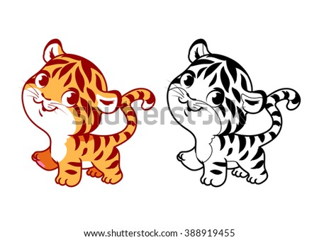 cute little tiger cartoon vector character isolated on a white background with black outline