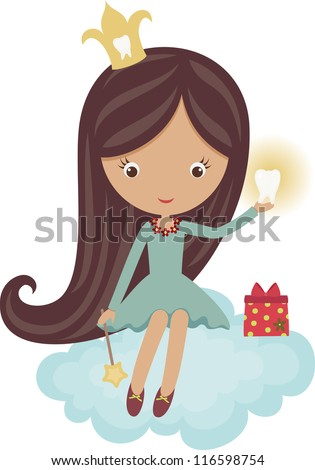 Cute little tooth fairy, sitting on a cloud - stock vector