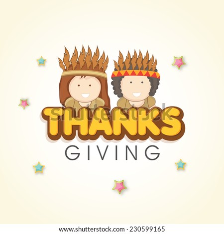 Cute little tribe kids on star decorated background for Thanksgiving Day celebrations. #230599165