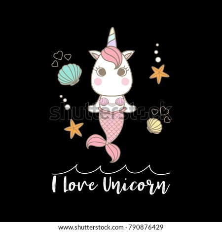 """Stock Photo Cute little unicorn mermaid decorated with shell and starfish on sea surface and text """"I Love Unicorn"""". on black background."""