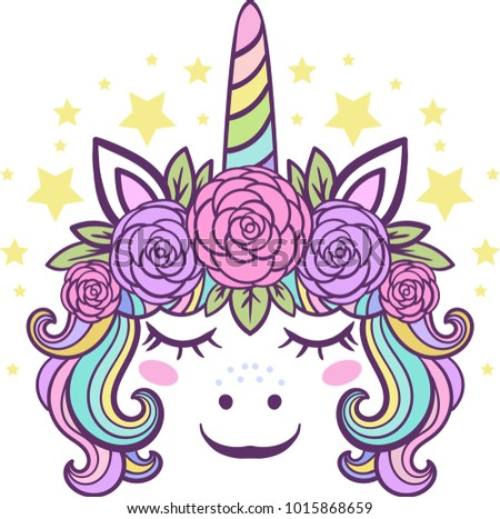 Cute little unicorn with roses