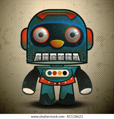 Cute little vector classic robot, Retro Robot