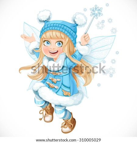 cute little winter fairy girl
