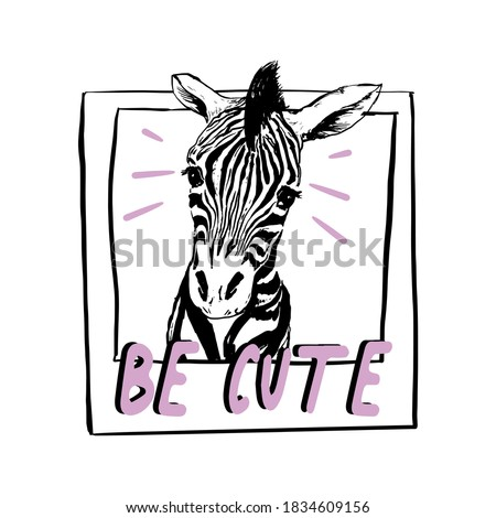 Cute Little zebra in polaroid frame with pink slogan Be cute  vector illustration. Print for kids t-shirt design. Stock foto ©