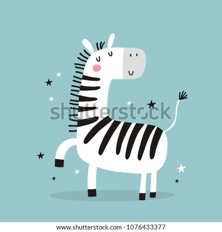 Stock Photo Cute Little zebra vector print