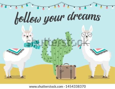 cute llama and alpaca of hand