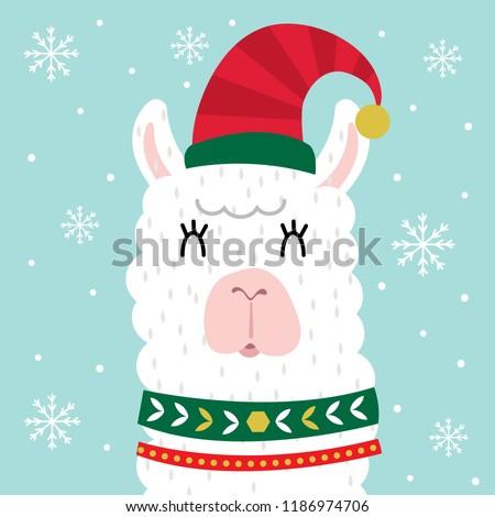 cute llama face cute christmas