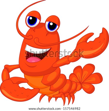 Cute lobster cartoon waving