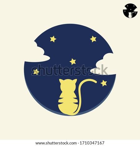 cute logo of curious cat