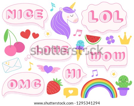 Cute lol stickers. Wow, omg and nice girls doll sticker. Funny surprise pink patches with dotted texture. Unicorn, cherry and ice cream stickers, teenager isolated vector symbols set