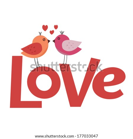 cute love birds kissing vector