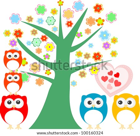 cute love owl with valentines heart and tree background