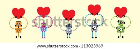 cute love robot collection