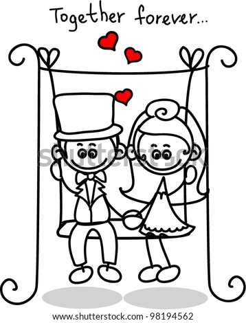 Cute love, the bride and groom - stock vector