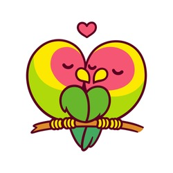 Cute lovebird parrots couple kissing with heart. Funny cartoon birds in love. Valentines day card vector illustration.