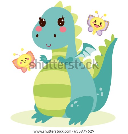 cute lovely happy dragon with