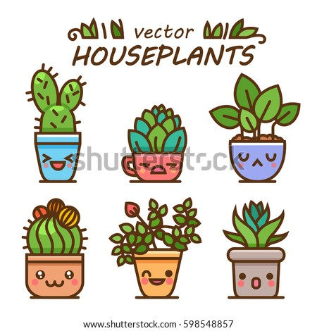 Cute lovely kawaii houseplants vector art. Kawaii faces flower pots. Cartoon style. Vector icons on white background.