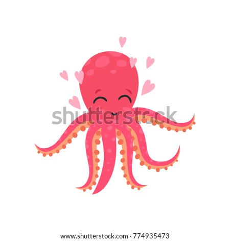cute loving octopus surrounded