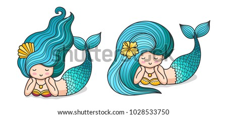 Cute lying dreamy mermaids with long blue hair. Cartoon characters. Vector illustration, isolated on white background.