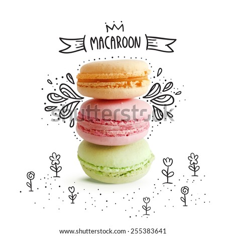 cute macaroon with doodles