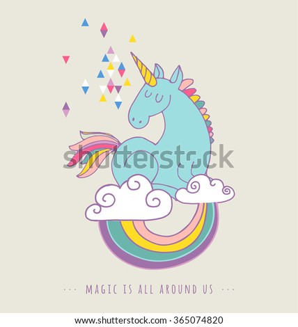 cute magic unicorn and rainbow