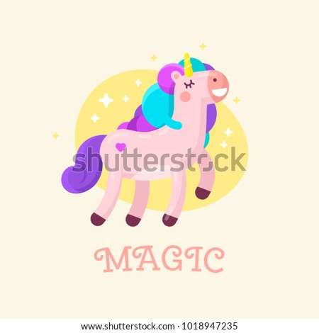 Cute Magic Unicorn illustration. Happy unicorn print. #1018947235