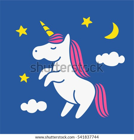 Cute magic unicorn on night sky with clouds, moon and stars vector illustration, poster, greeting card
