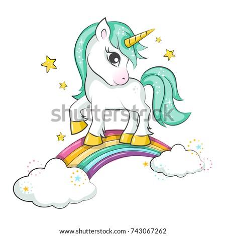 cute magical unicorn and