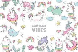 Cute magical unicorn, cat - mermaid, unicorn - mermaid, dragon, Narwhal,  vector set.  Cool summer print with handwritten quotes - Mermaid vibes.