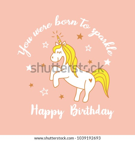 Cute Magical Unicorn Design Happy Birthday Card With Cartoon