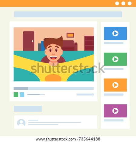 Cute man and video blog in web interface. Vector illustration in cartoon style