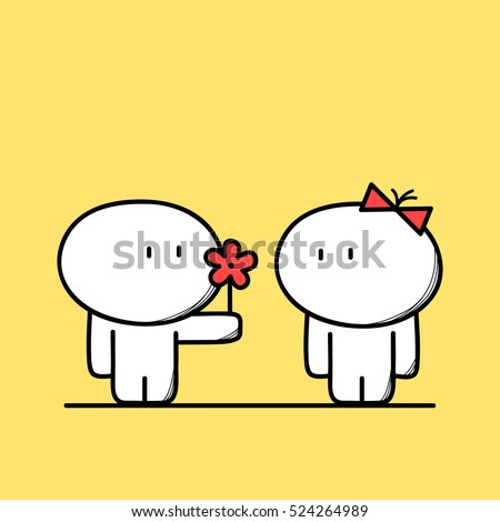 cute man gives a flower to the