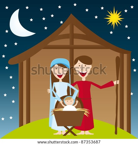cute manger over night landscape with moon and star. vector - stock vector