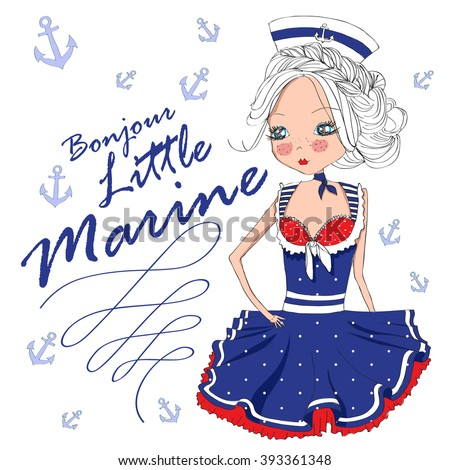 Stock Photo cute marine girl.good morning little marine