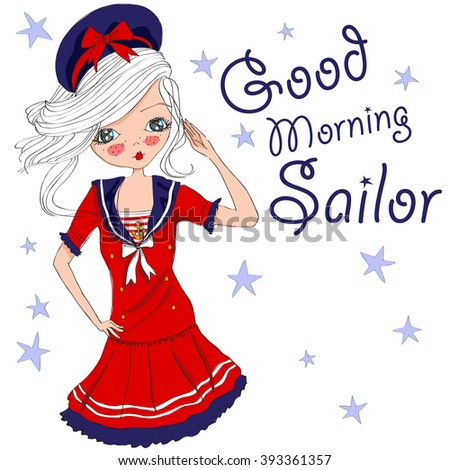 Stock Photo cute marine girl,good morning sailor