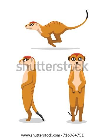 cute meerkat poses cartoon