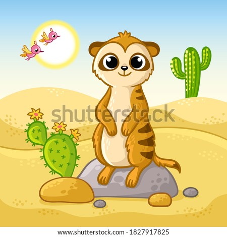 Cute meerkat stands on a stone in the desert among cacti and sand. Vector illustration with animal in cartoon style.