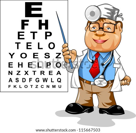 Cute men doctor - ophthalmologist points to the table for testing visual acuity;