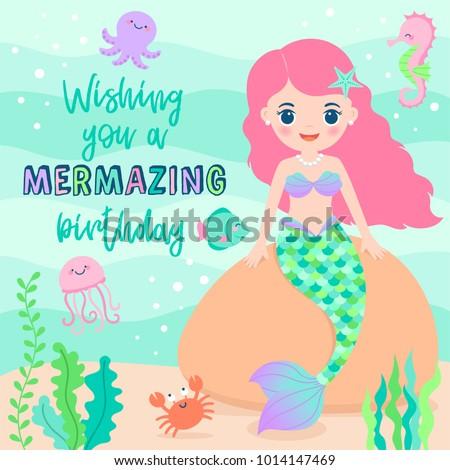 Stock Photo Cute mermaid and marine life illustration for birthday greeting card design