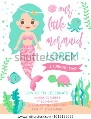 cute mermaid and marine life