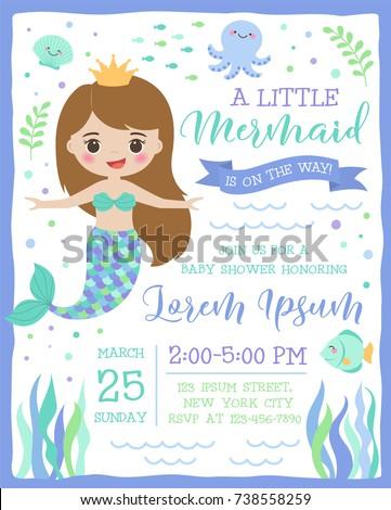 cute mermaid and sea life